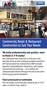 Mobile web site design for ACT Construction in Lewisville, Texas.