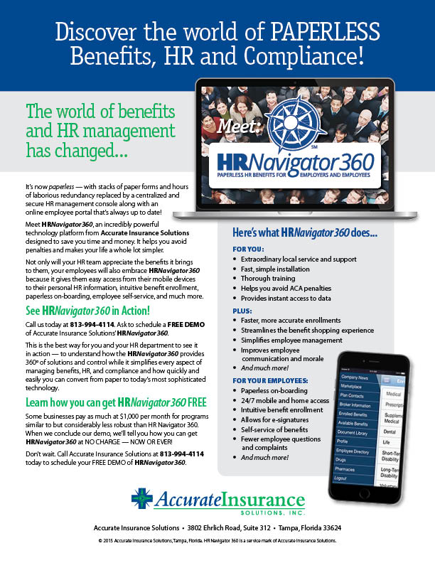 Ad and flyer designed by Design Strategies for Accurate Insurance to promote their HR Navigator 360 software.