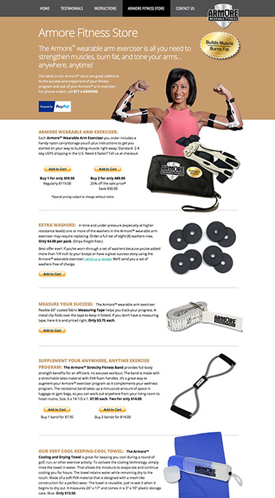 Web site design created for Armore Fitness by Design Strategies, Inc.