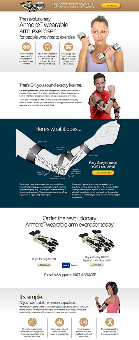Website design for Armore Wearable Fitness by Design Strategies, Inc. This is a targeted landing page.