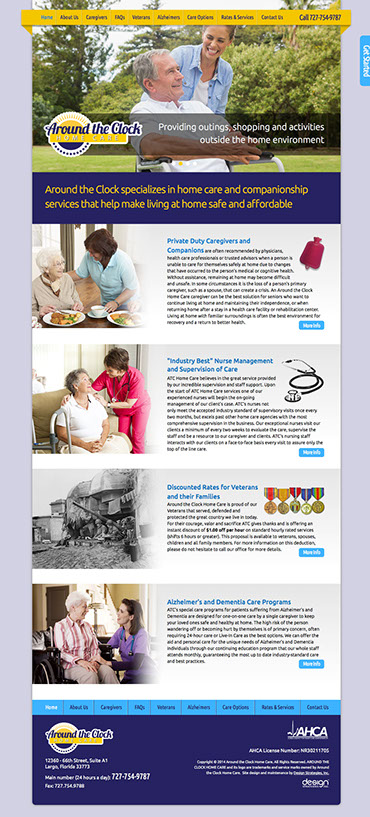 Web site design for Around the Clock Home Care. Web image and branding, logo design.