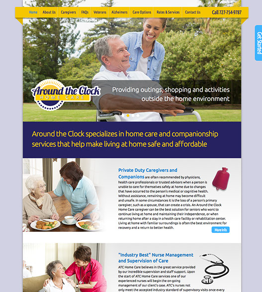 Web site design for Around the Clock Home Care in Florida.