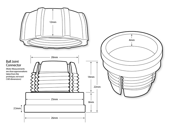 Line drawings of prototype parts created prior to the machining of die molds for plastic parts.