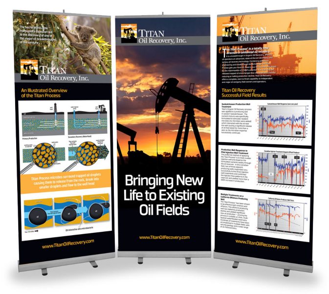 Large trade show retractible banners designed for Titan Oil Recovery.