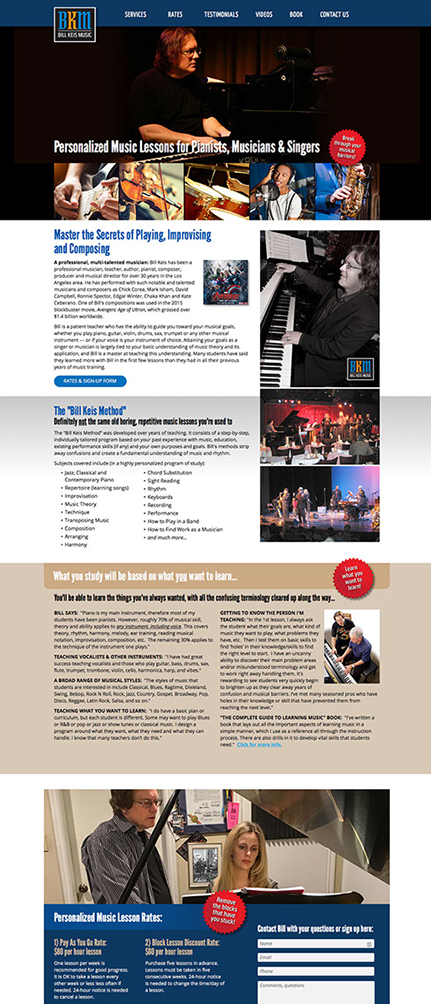 Website designed for Bill Keis Music in California by Design Strategies, Inc.