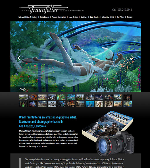 Web site design for Brad Fraunfelter Illustration in Glendale, California.