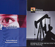 Brochure designs for Guideline Risk Technologies and Titan Oil Recovery.