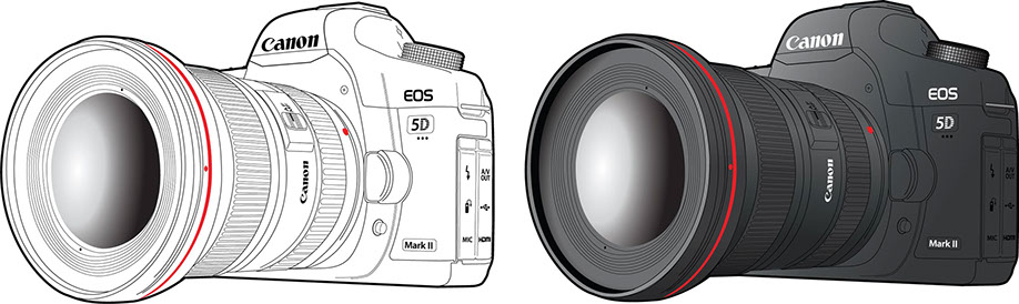 Illustration: Canon 5D MkII camera line drawing and shaded samples. Great for instruction manuals.