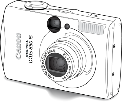 Illustration: Line drawing of Canon camera for product illustration.