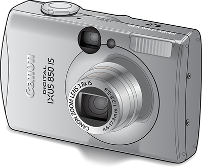 Illustration: Line drawing of a Canon point and shoot camera with shading.