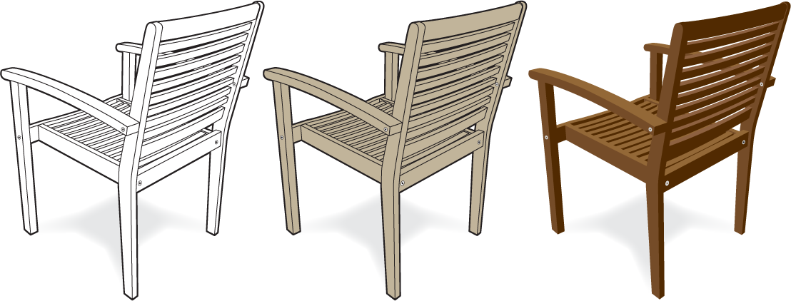 Line drawing illustration of 3 wooden chairs showing black and white, one color and semi-realistic styles.