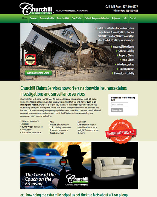Web site design for Churchill Claims Services of Largo, Florida.