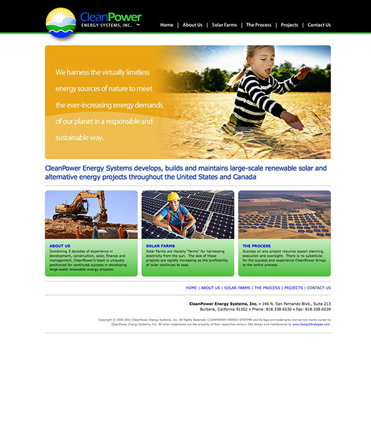 Web site design for CleanPower Energy Systems of California.