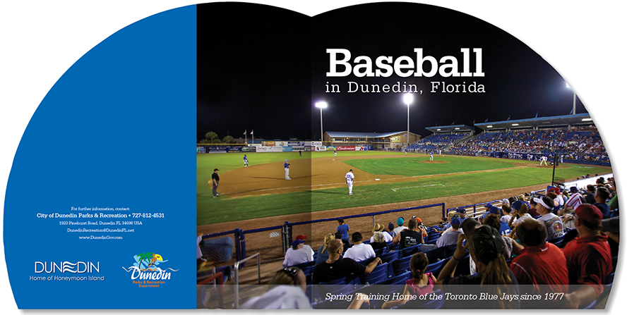 Brochure designed for Dunedin Department of Parks and Recreation, promoting their city center baseball field.