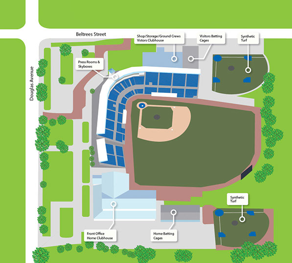 Illustrations created for the City of Dunedin, Florida, used in a brochure promoting their baseball stadium, home of the Toronto Blue Jays.