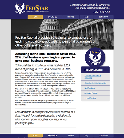 Website design for FedStar Government Contractor Funding.