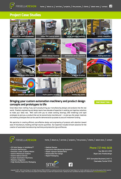 Web site design for FrisellaDesign in Clearwater, Florida.
