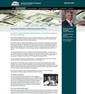 Screen captures of new website pages we designed for Kenneth J. Gerbino & Company.