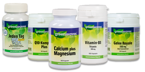 New corporate image design and product labels for Greenleaves Vitamins in Holland.