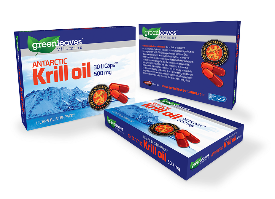 Packaging design for Greenleaves Antarctic Krill Oil product.