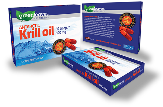 Packaging design for Greenleaves Vitamins krill oil box.