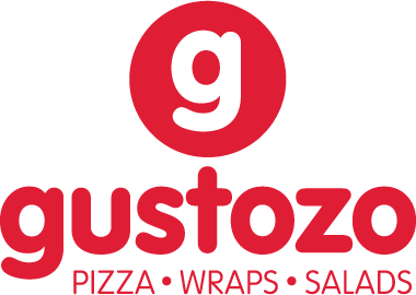 Alternate logo usage design for Gustozo Pizza, Wraps and Salads in Mumbai, India.