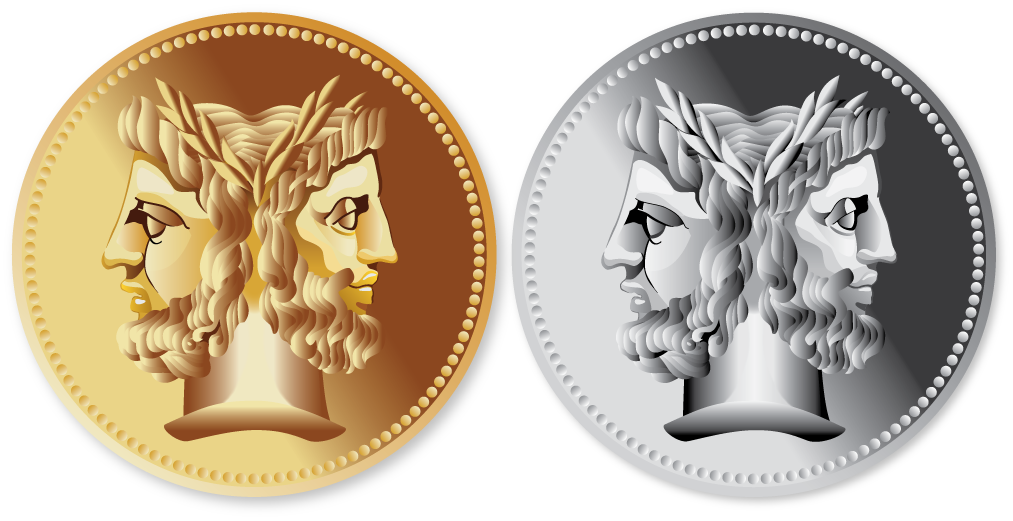 Illustration of metallic coins in gold and silver, with the heads of Janus, the Roman god of doorways, archways, beginnings and endings.
