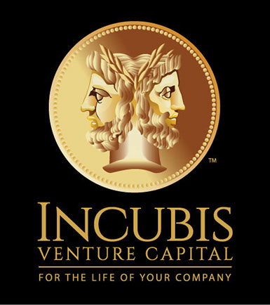 Logo design for Incubis Venture Capital, vertical version on black bacground.