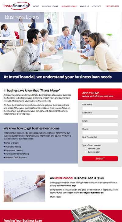 Web site design for InstaFinancial LLC financial services company in Irvine, California.