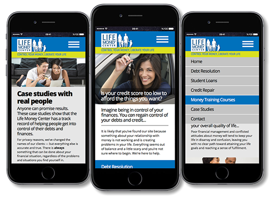 Mobile website design for the Life Money Center in Albuquerque, NM.