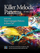 "Book cover designs for Bill Keis ""Killer Melodic Patterns"" series of 4 books."