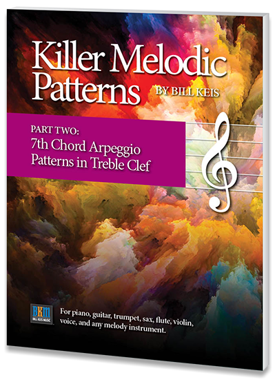 "Book cover design for Bill Keis' ""Killer Melodic Patterns"" booklets by Design Strategies, Inc."