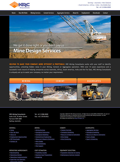 Web site design for KRC Mining Consultants based in Sydney, NSW, Australia.