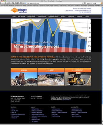 Web site design for KRC Mining Consultants in Sydney, Australia.