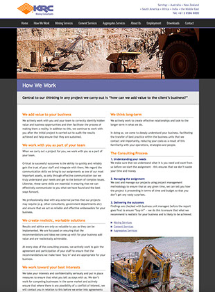 Web site designed by Design Strategies for KRC Mining Consultants of Sydney, Australia.