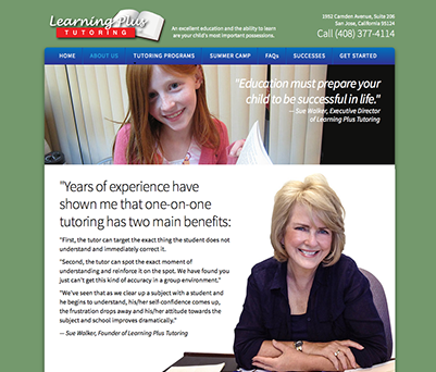 Web site design for Learning Plus Tutoring in San Jose, California.