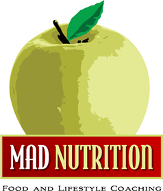 Logo designed for Mad Nutrition, Food and Lifestyle Coaching of New Jersey.