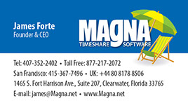 Business card design for Magna Timeshare Software.