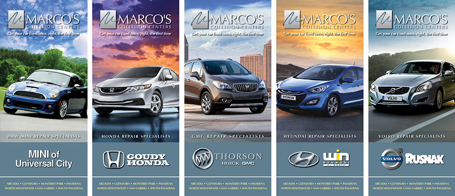 Ten new brochures designed for Marco's Collision Centers in Southern California. We've helped Marco's grow from one to 16 locations.
