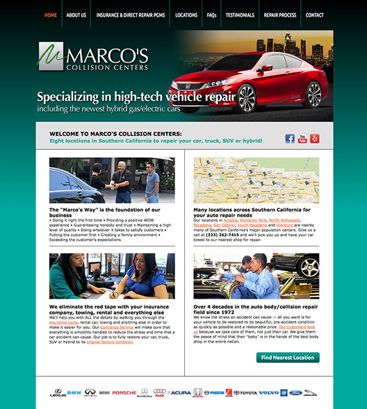 Web site design for Marco's Collision Centers in Southern California.