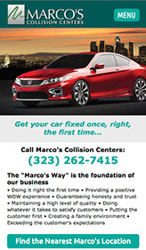 Mobile web site design for Marco's Collistion Centers in Southern California.