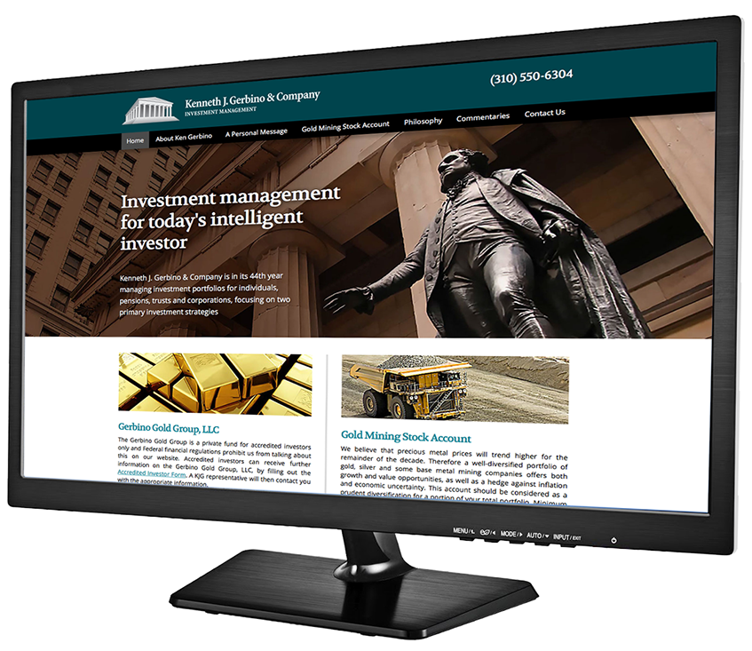 Monitor shot of new Kenneth J. Gerbino & Company website home page.