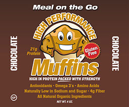 Label designs for High Performance Muffins product.