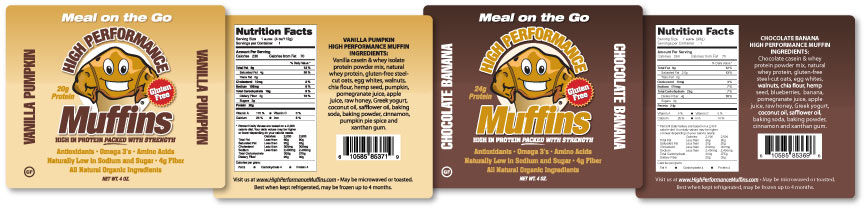Labels designed for High Performance Muffins.