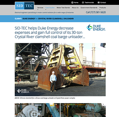 Web site design for SID TEC electrical engineering firm in Florida.