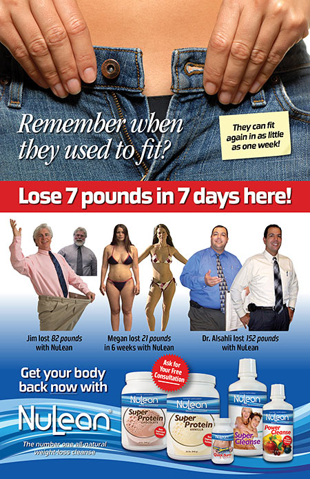 Poster designed for NuLean Weight Loss Products of Florida.