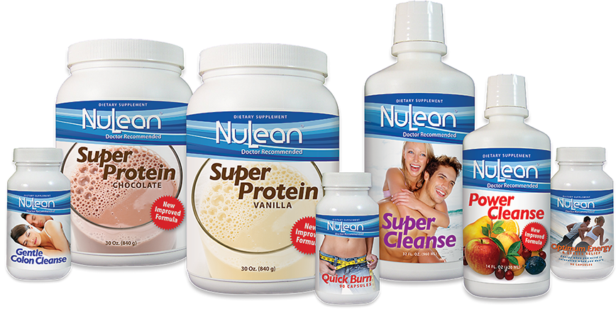 Label design for NuLean Weight Loss System's product line. Products look coordinated and professional.