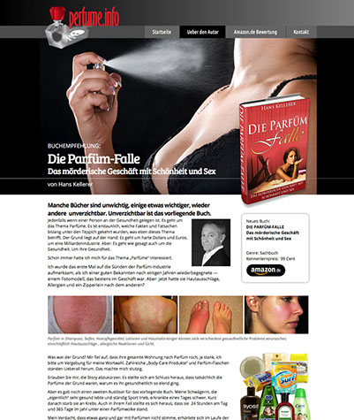 Web site design created for Hans Kellerer, and author in Germany, by Design Strategies, Inc.