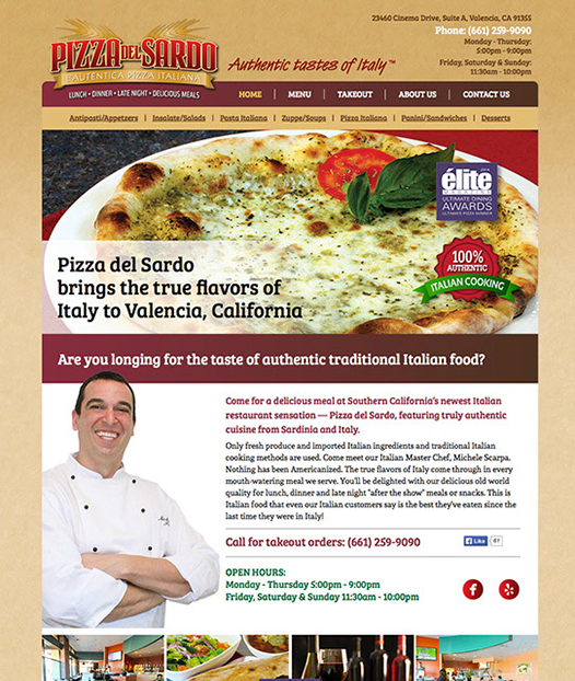 Web site design for Pizza del Sardo Italian restraurant in California.