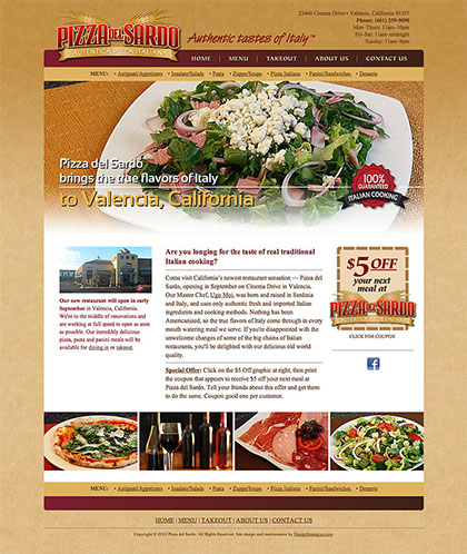 Web site design for Pizza del Sardo authentic Italian restaurant in Valencia, California.
